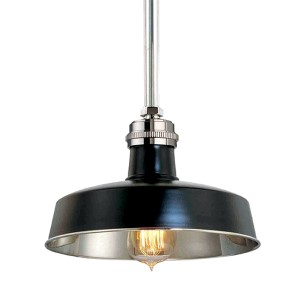 Hudson Falls Black Polished Nickel One-Light Pendant