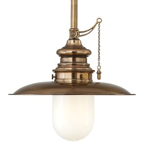 Kendall Aged Brass 15-Inch One-Light Pendant