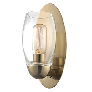 Pamelia Aged Brass One-Light Wall Sconce with Clear Glass