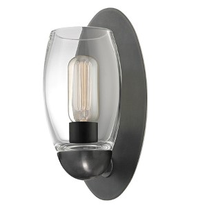 Pamelia Old Bronze One-Light Wall Sconce with Clear Glass