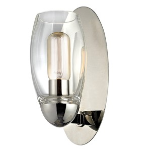Pamelia Polished Nickel One-Light Wall Sconce with Clear Glass