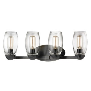 Pamelia Old Bronze Four-Light Bath Vanity with Clear Glass
