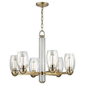Pamelia Aged Brass Six-Light Chandelier with Clear Glass