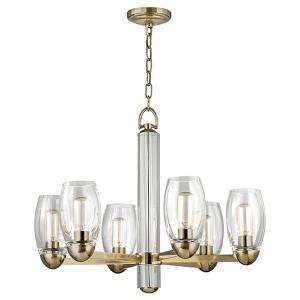 Pamelia Aged Brass Six-Light Chandelier with Clear Glass