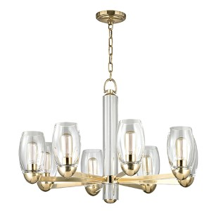 Pamelia Aged Brass Eight-Light Chandelier with Clear Glass