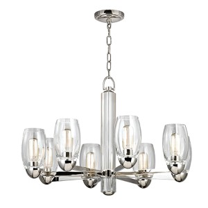Pamelia Polished Nickel Eight-Light Chandelier with Clear Glass
