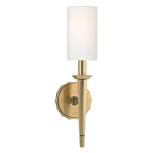 Tioga Aged Brass One-Light Wall Sconce with White Shade