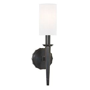 Tioga Old Bronze One-Light Wall Sconce with White Shade