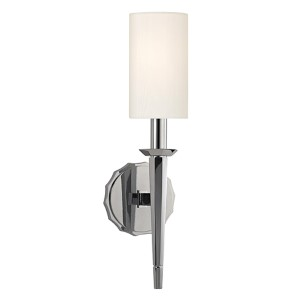 Tioga Polished Chrome One-Light Wall Sconce with White Shade