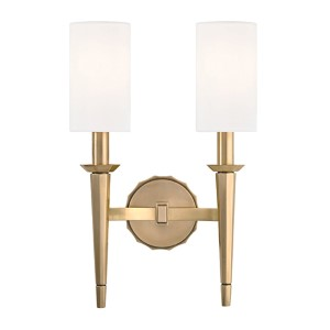 Tioga Aged Brass Two-Light Wall Sconce with White Shade