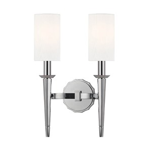 Tioga Polished Chrome Two-Light Wall Sconce with White Shade