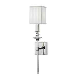 Towson Polished Nickel One-Light Wall Sconce with White Silk Shade