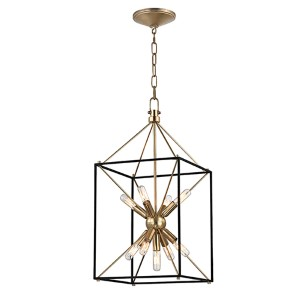 Glendale Aged Brass Nine-Light 12-Inch Wide Pendant with Black Iron