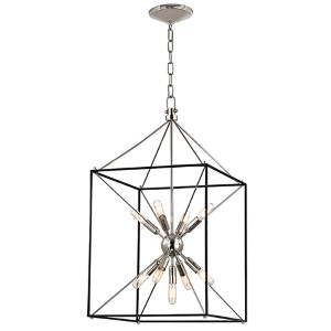 Glendale Polished Nickel Nine-Light 30-Inch High Pendant with Black Iron