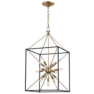 Glendale Aged Brass 13-Light Pendant with Black Iron