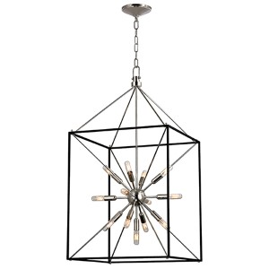 Glendale Polished Nickel 13-Light Pendant with Black Iron