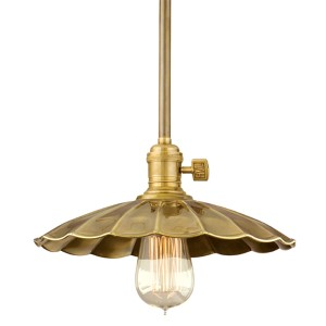 Heirloom Aged Brass One-Light Pendant with Small Scalloped Metal