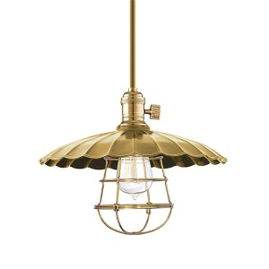 Heirloom Aged Brass One-Light Medium Pendant-Scalloped Shade and Wire Guard-Short