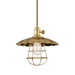 Heirloom Aged Brass One-Light Mini Pendant with Scalloped Shade and Wire Guard-Short