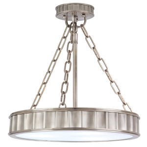 Middlebury Historic Nickel 17-Inch Three-Light Semi Flush
