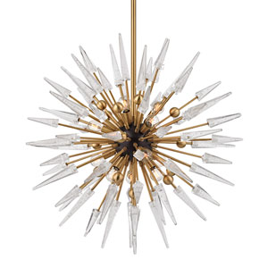 Sparta Aged Brass Twelve-Light Starburst Pendant