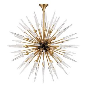Sparta Aged Brass 18-Light Starburst Pendant