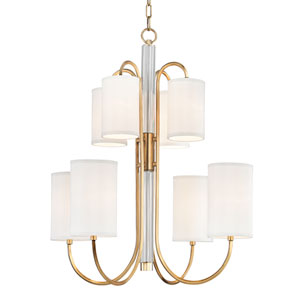 Junius Aged Brass Eight-Light Chandelier