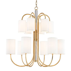 Junius Aged Brass Twelve-Light Chandelier