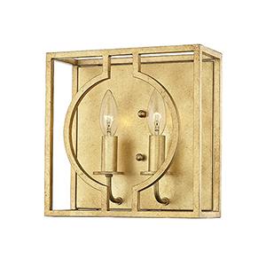 Octavio Gold Leaf 2-Light 10-Inch Wall Sconce