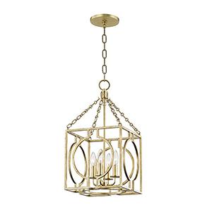 Octavio Gold Leaf 4-Light 11.75-Inch Pendant
