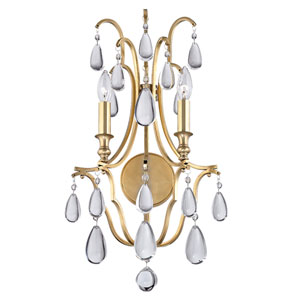 Crawford Aged Brass Two-Light Wall Sconce