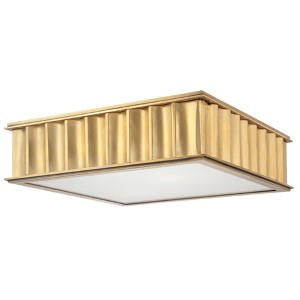 Middlebury Aged Brass Square Two-Light Flush Mount