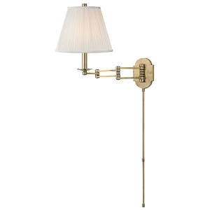 Ravena Aged Brass One-Light Three Arm Swing Wall Sconce with White Shade