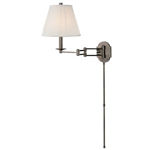 Ravena Historic Nickel One-Light Three Arm Swing Wall Sconce with White Shade