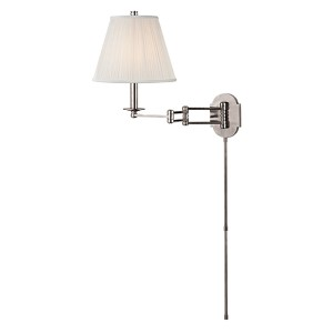 Ravena Polished Nickel One-Light Three Arm Swing Wall Sconce with White Shade