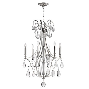 Crawford Polished Nickel Six-Light Chandelier