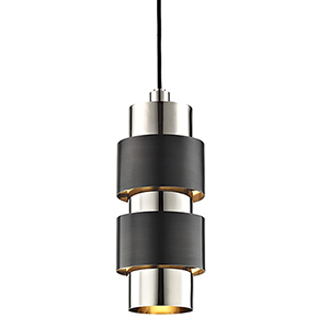 Cyrus Polished Nickel and Old Bronze Combo 2-Light 6-Inch Mini Pendant