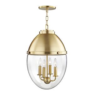 Kennedy Aged Brass 4-Light 14-Inch Pendant