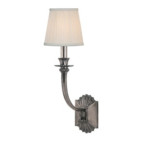 Alden Historic Nickel One-Light Wall Sconce with White Pleated Shade