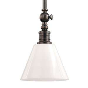 Darien Distressed Bronze One-Light Pendant with Glossy Opal Glass