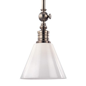 Darien Historic Nickel One-Light Pendant with Glossy Opal Glass