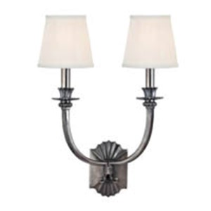 Alden Historic Nickel Two-Light Wall Sconce with White Pleated Shade