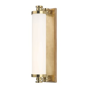 Sheridan Aged Brass LED Eight-Light Bath Light Fixture with Opal Glass