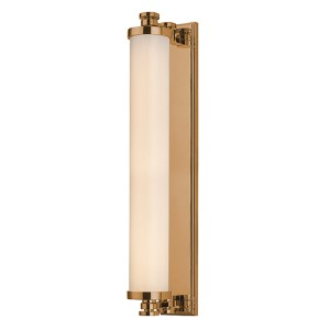 Sheridan Aged Brass LED 14-Light Bath Light Fixture with Opal Glass