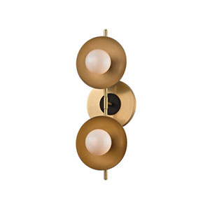 Julien Aged Brass LED 13-Inch Two-Light Bath Sconce
