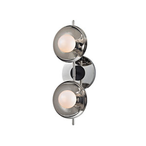 Julien Polished Nickel LED 13-Inch Two-Light Bath Sconce