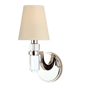 Dayton Polished Nickel One-Light Wall Sconce with Cream Shade