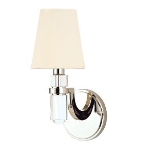 Dayton Polished Nickel One-Light Wall Sconce with White Shade