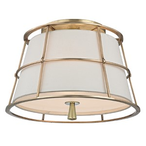 Savona Aged Brass Two-Light Semi Flush with Linen Shade