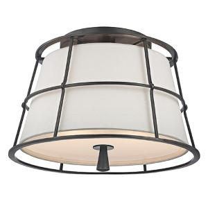 Savona Old Bronze Two-Light Semi Flush with Linen Shade